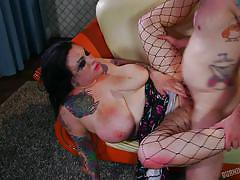 Fat tattooed chick fucked hard