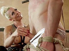 handjob, femdom, spanking, tied, busty milf, clothespins, blonde mistress, rope bondage, divine bitches, kink, lorelei lee, artemis faux