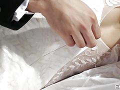 Licking blondes bride wet pussy