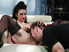 Gorgeous tattooed busty milf gets her pussy licked