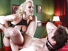 strapon, big tits, fetish, cock torture, male slave, blonde milf, sexy lingerie, mouth gag, on leash, divine bitches, kink, cherry torn, dirk wakefield