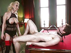 Blonde milf takes advantage of this guy