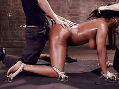 threesome, bondage, interracial, blowjob, double penetration, pierced nipples, ebony milf, big breasts, dungeon sex, kink, owen gray, mickey mod, lisa tiffian