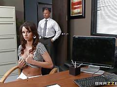 big tits, schoolgirl, blowjob, brunette, at school, on the table, big tits at school, brazzers network, johnny sins, ashley sinclair