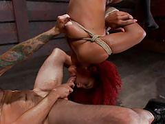 tattoo, ebony, hanging, deepthroat, piercing, redhead babe, gag, rope bondage, dungeon sex, kink, tommy pistol, daisy ducati