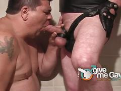 Daddy in leather showers fatty with piss