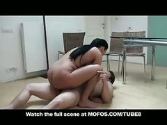 Natural big tit  ass euro brunette milf fucks big dick