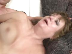 Hairy granny gets taboo sex with young boy