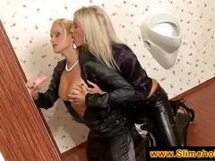 Gorgeous blondes sucking at the gloryhole
