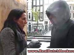 Amateur dutch blonde gives guy a blowjob for money