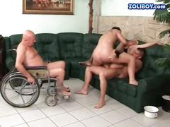 Three guys fucking and pissing on ugly bitch