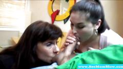 Mature and teen love blowing dude