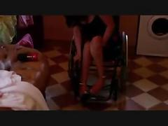 Paraplegic wearing high heels