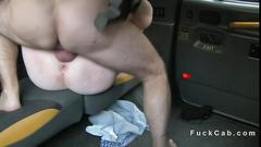 Busty british redhead anal bangs in taxi
