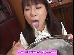 Japanese bukkake girl drooling cum