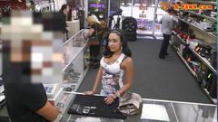 Big titty latina fucked at the pawnshop