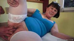 Hairy chubby granny getting fucked