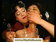 Girls drink piss and get bukkake in bizarre groupsex