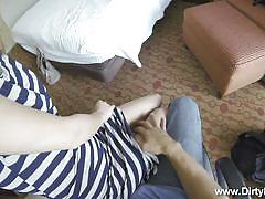 Cutie sucks cock in a hotel room