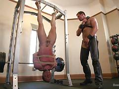 leather, whipping, bound, blowjob, master, gays, upside down, rope bondage, bound gods, kink men, connor maguire, derek pain