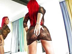 Big boobs & booty redhead shemale wants to cum