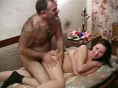 Old hairy man fuck son's gf