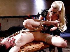 milf, fisting, blonde, femdom, bondage, big boobs, fetish, cock torture, ball gag, divine bitches, kink, cherry torn, garett nova
