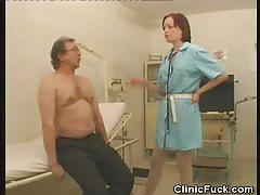 Naughty nurse jerks this hard cock