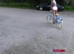 Blonde tween girlfriend riding her bike and foot massage