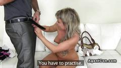 Fake agent fucks and shoots blonde
