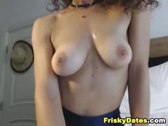 Nice ass babe rubs her pussy