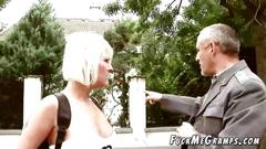 Older guy plays pervert scene with young blonde