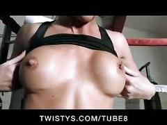 Young big tit brunette boxer naked in gym  fingers her pussy