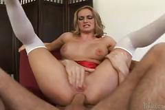 Aline gets a meat injection on her tight asshole