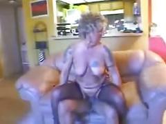 Tattooed blonde granny fucked