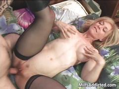 Slutty blonde milf gets pussy fucek