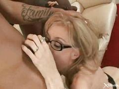 Nina hartley takes on two big black cocks