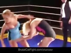 Blonde fucked by two perverts after ring catfight