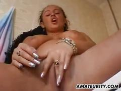 Amateur girlfriend with big tits sucks and fucks with cum