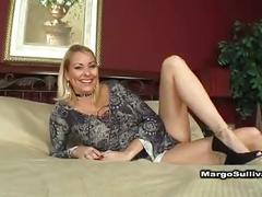 Sexy blonde cougar wins sex bet
