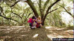 Two naughty bisexual teens licking each twats in the woods