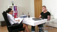 Female agent bangs amateur gu on camera