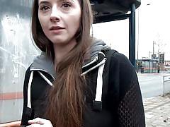 Brunette hottie walks naked in public