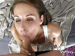 handjob, pissing, babe, blowjob, brunette, cock riding, piss in mouth, 69 position, vipissy, antonia sainz