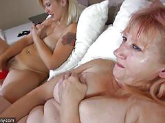 blonde, hairy, lesbians, mature, busty, dildo, undressing, old and young, old nanny, bernadett x