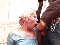 Blonde mature slut gets disrupted, while on toilet