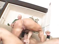 Cuckold watches his muscled wife riding a thick cock