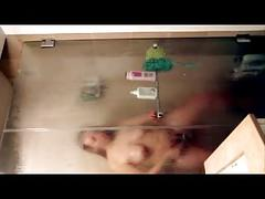 Shower girl horny fondles nipples  masturbate fail in shower