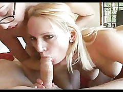 Two horny girls one cock blowjob