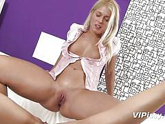 Blonde and black haired slut play with pee